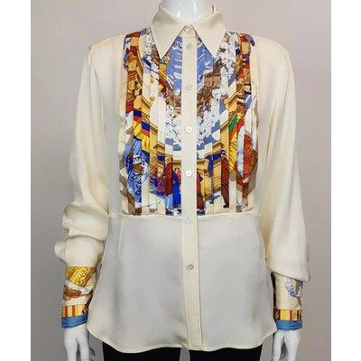 Camisa Hermès, Seda, Creme