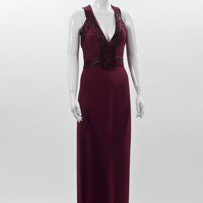 Vestido longo Gucci bordô em crepe com bordado