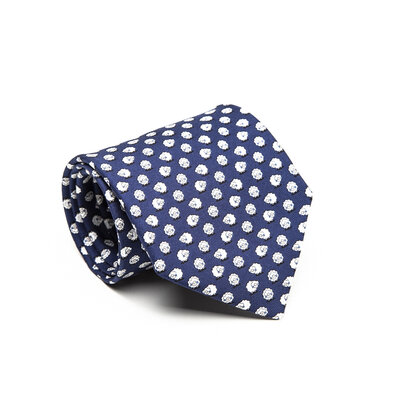 Gravata Salvatore Ferragamo em seda azul e branco