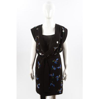 Vestido Diane Von Furstenberg Preto com Bordado
