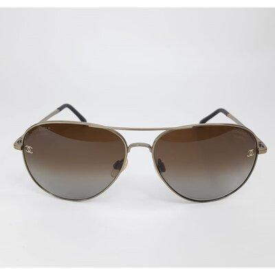 Óculos Chanel Aviador 4189-T Marrom com Dourado
