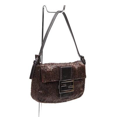 Mini Bolsa Fendi Baguette bordada em marrom