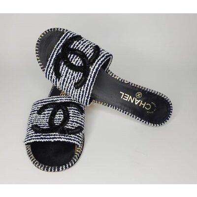 Rasteirinha Chanel Tweed B&W