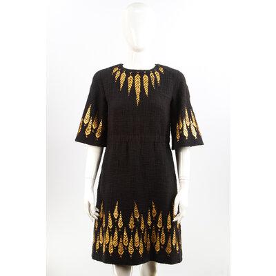 Vestido Chanel Tweed Preto/Dourado