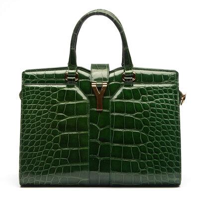 Bolsa Yves Saint Laurent Cabas Chyc Crocodilo Verde