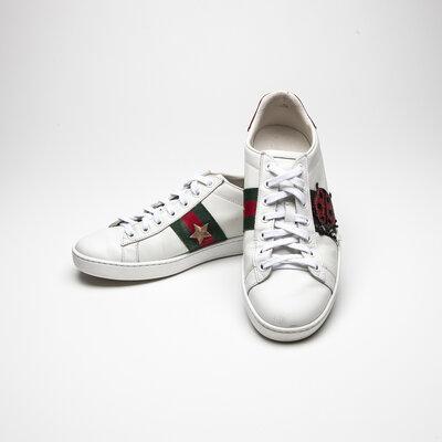 Tênis Gucci em couro Branco, Vermelho e Verde