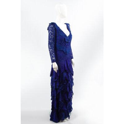 Vestido Martha Medeiros Renda Azul Bic
