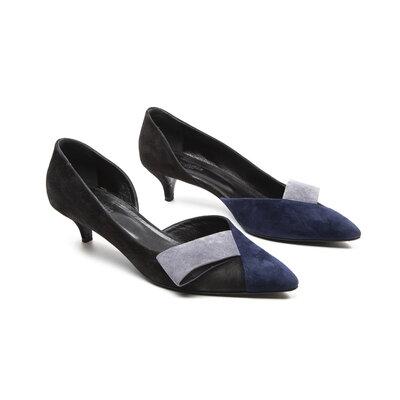 Sapato Hermès em Camurça Preto e Azul Marinho