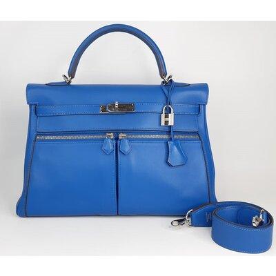 Bolsa Hermès Kelly Lakis 35 Veau Swift Blue Zellige