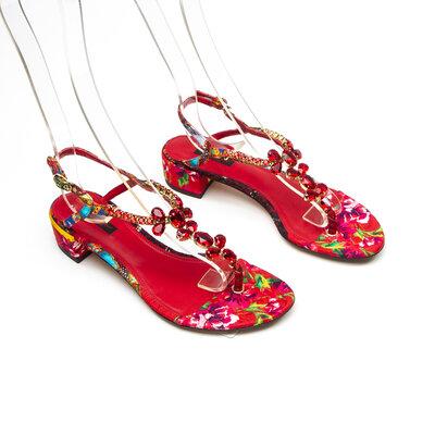 Sandalia Dolce & Gabbana Strass Vermelha