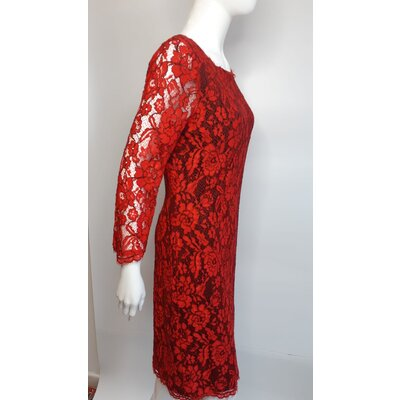 Vestido Diane Von Furstenberg Renda Vermelho