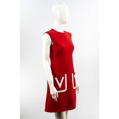 Vestido Valentino VLogo Crepe Vermelho