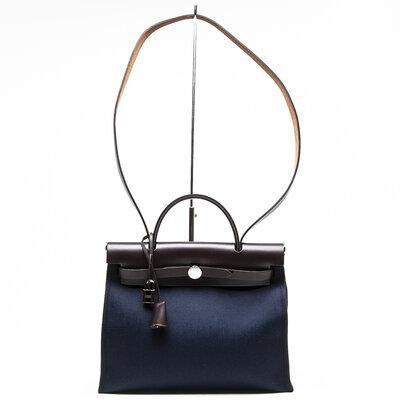 Bolsa Hermès Herbag Zip 31 em Canvas e Couro azul com marrom