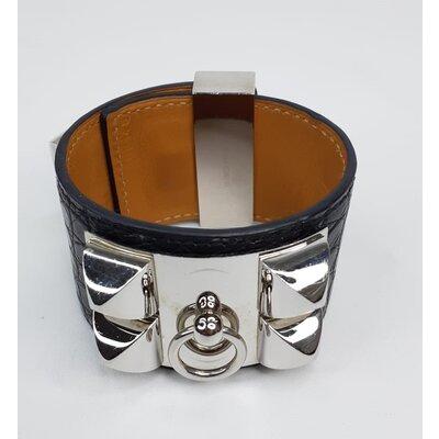 Pulseira Hermès Collier de Chien Crocodilo Preta