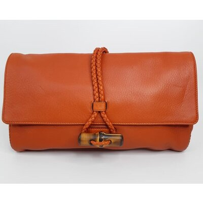 Clutch Gucci Bamboo Couro Coral