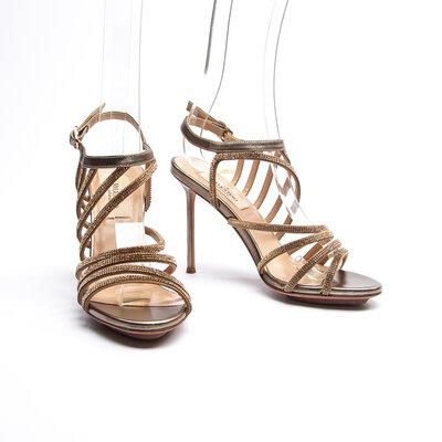Sandália Valentino Couro/Strass Dourada