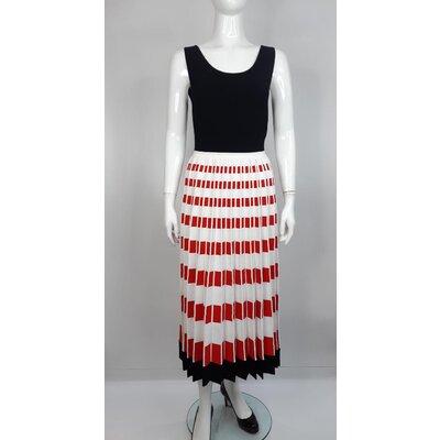 Vestido Fendi Viscose Plissado Preto, Branco e Vermelho