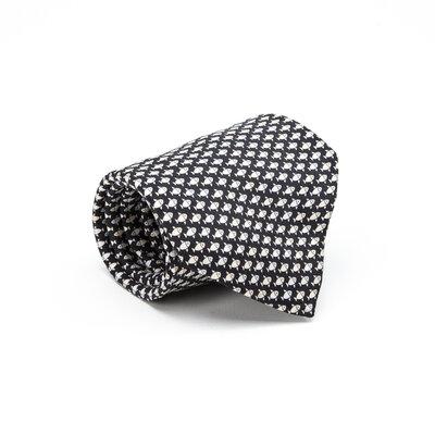 Gravata Hermès Seda Estampada Preta e Off White