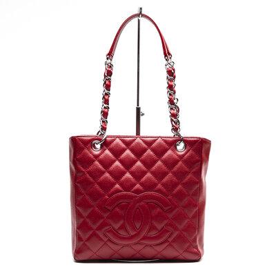 Bolsa Chanel Petit Shopper em couro Caviar vermelha