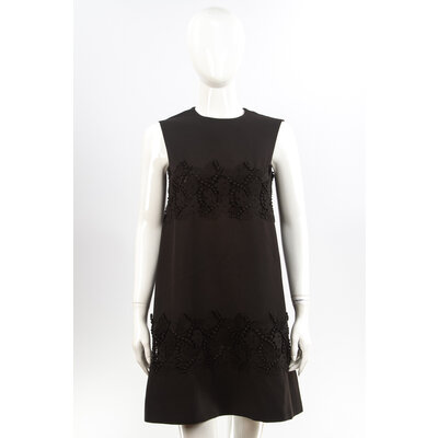 Vestido S/Manga Valentino Crepe Preto