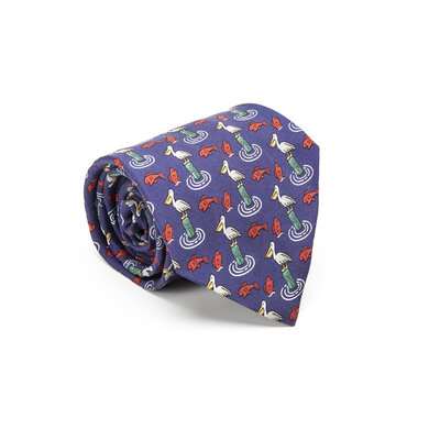 Gravata Hermès Seda Estampada Azul Verde e Vermelha