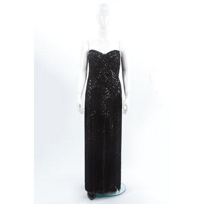 Vestido Longo Bellville bordado em Preto