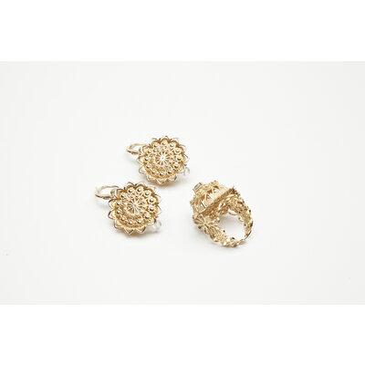 Conjunto Anel e Brinco Dolce & Gabbana em bijouteria dourado