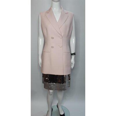Conjunto Christian Dior em Rosa com Bordado Prateado