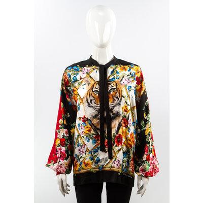 Camisa Dolce & Gabbana Seda Estampada Onça
