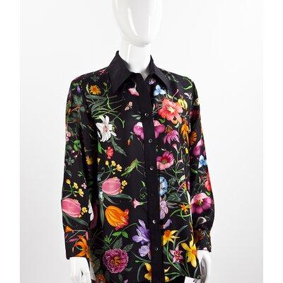 Camisa Gucci de seda preta com flores
