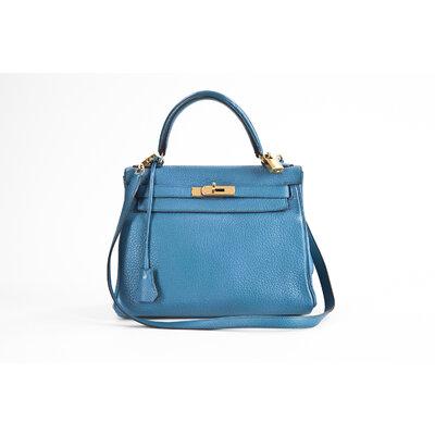 Bolsa Hermès Kelly 28 Togo em Azul