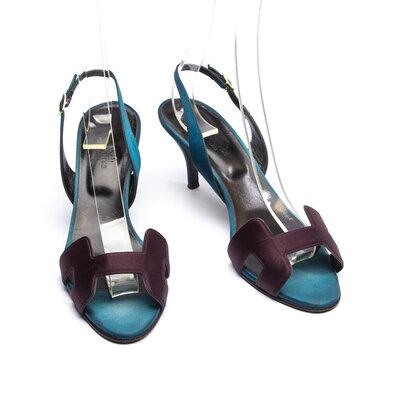 Sandália Hermès em Cetim Azul e Roxo