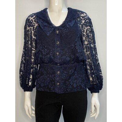 Camisa Chanel Renda Azul Marinho
