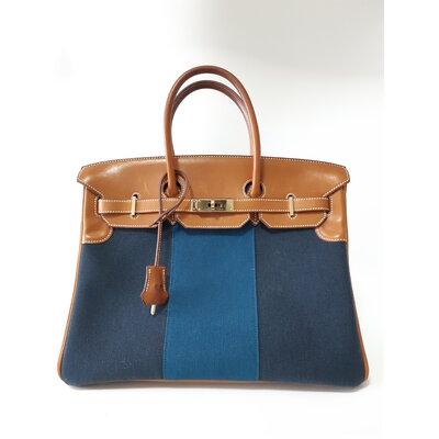 Bolsa Hermès Birkin Flag 35 Toile Barenia Azul Marinho e Caramelo