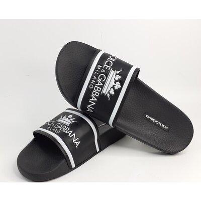 Slides Dolce & Gabbana Borracha Preto com Logomarca