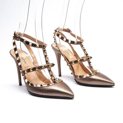Sapato Valentino Couro/Spikes Bronze