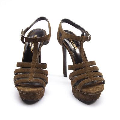 Sandália Yves Saint Lauren em Camurça Verde Musgo