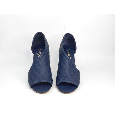 Sapato Chanel D'Orsay Matelasse Azul Marinho
