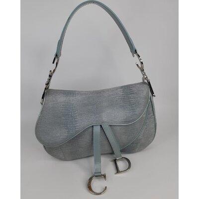 Bolsa Christian Dior Double Saddle em Suede Azul