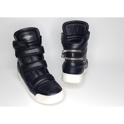 Sneakers Balmain em Couro Preto
