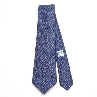 Gravata Hermès Seda Estampada em tons Azuis