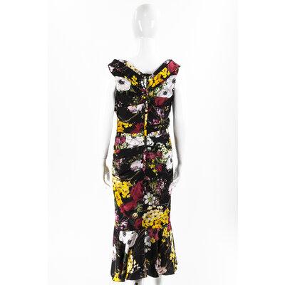 Vestido Dolce & Gabbana seda estampado com preto