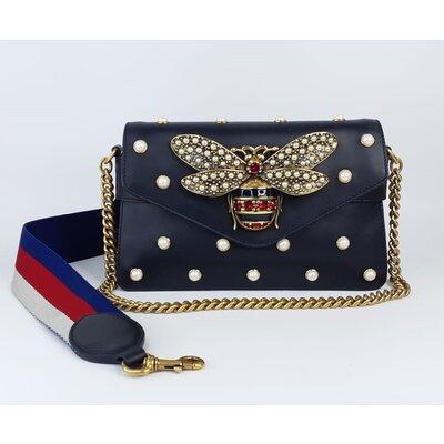 Bolsa Gucci Pearl Studded Mini em Couro Preta