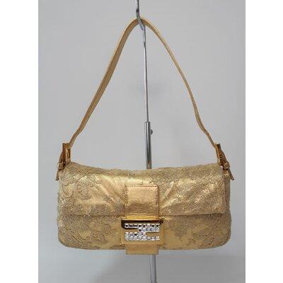 Bolsa Fendi Baguette em Couro e Renda Dourada