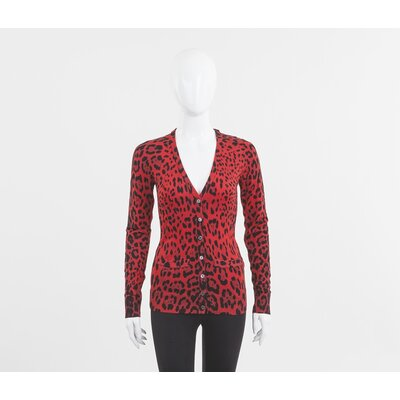 Cardigan Dolce & Gabbana animal print preto e vermelho