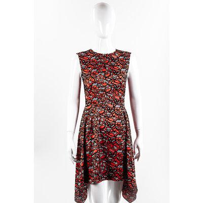 Vestido Louis Vuitton em Seda Coral e Veludo Preto