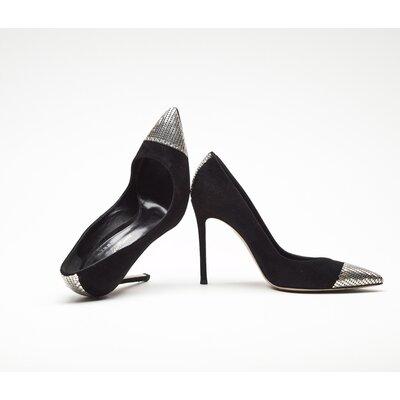 Sapato Gianvito Rossi em camurça e metal preto com prateado