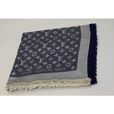 Lenço Louis Vuitton Cashmere e Seda Logomarca Azul e Branco