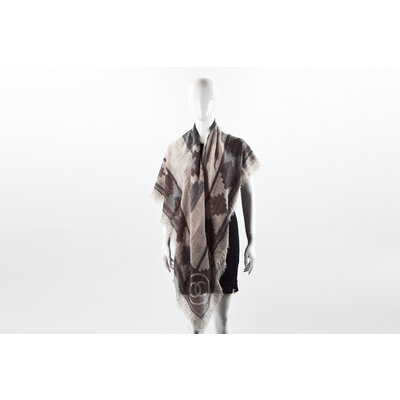 Echarpe Chanel em Cashmere marrom/bege