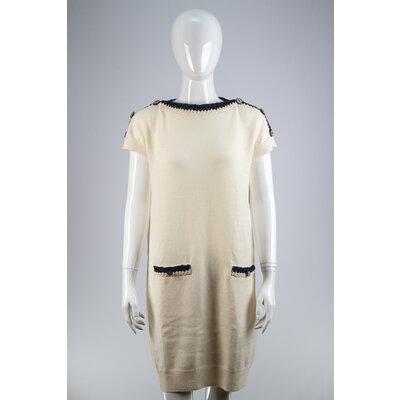 Vestido Chanel Croche Off White/Azul